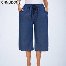 7b5b2ddd1f2a CNMUDONSI 2019 Verão Plus Size Calças de Pernas Largas Calças Jeans  Femininas Soltas Calças Jeans Tamanho