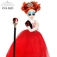 22 Full Set EVA BJD Large Head Queen 1/3 SD Doll 56cm jointed dolls SD Doll Toy Figure + Accessory Wigs Red Dress Boots Gifts