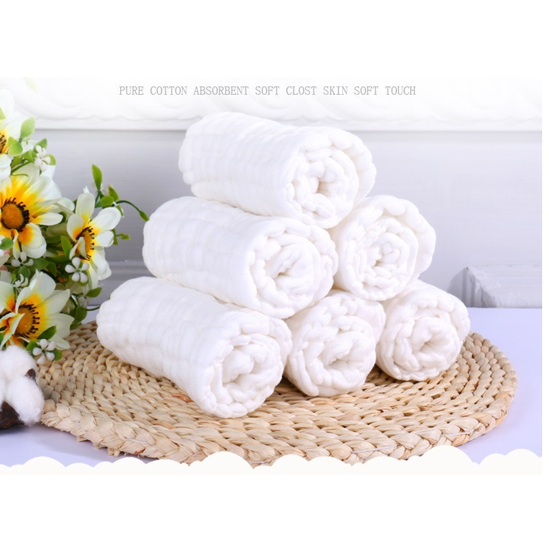 5pcs/lot 9 Layers 100% Muslin Cotton White Color Super Absorbent Breathable Gauze Prefold Cloth Diaper Nappies For Baby Kids