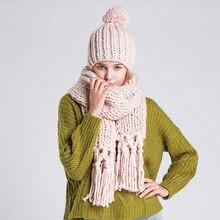 Чистый ручной головной убор воротник два комплекта смешанных цветов Толстая зимняя женская одежда шарф шапочки Костюм Девушки шерсть мяч шапка Круглая Шапка