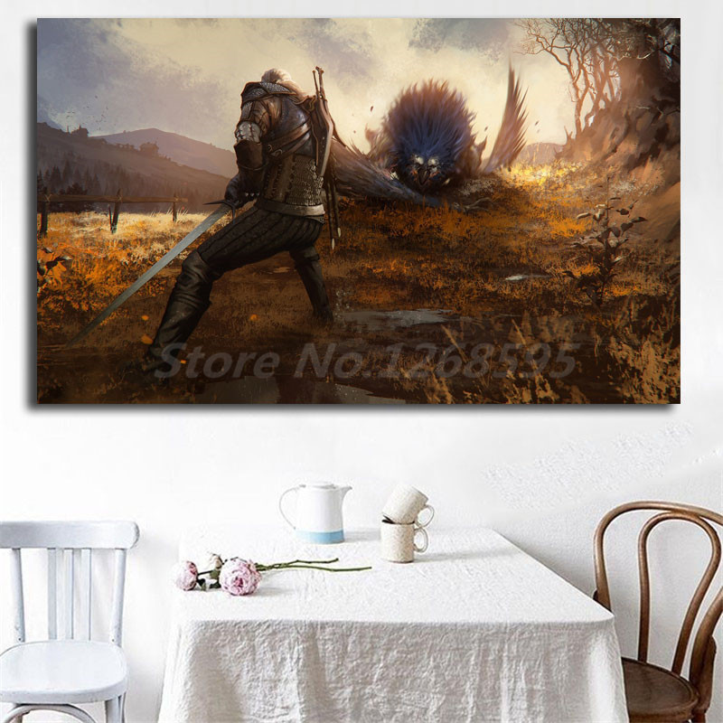 The Witcher 3 Wild Hunt Geralt Of Rivia Fighting Wallpaper Art Canvas Poster Painting Wall Picture Print Home Bedroom Decoration