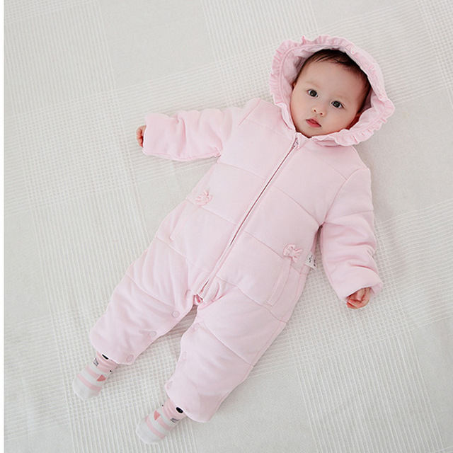 f917e0fec Baby Girls  Pram Hooded Baby Snow Suit Winter Bunting Pram baby girl ...