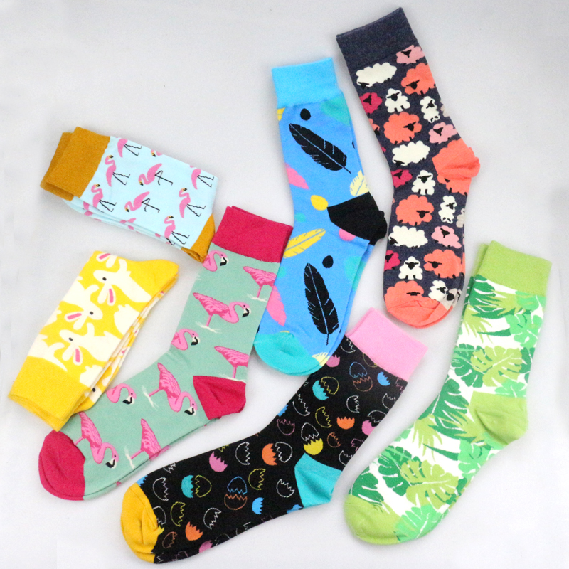 Women Personality Couples Socks Funny Happy Socks Cotton Men Socks Female Soks Egg Rabbit Feather Sheep Leaves Socks
