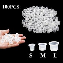 100pcs 플라스틱 Microblading 영원한 메이크업 명확한 명확한 S/M/L 크기 귀영 나팔 잉크 컵 안료 모자 귀영 나팔 부속품