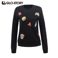 GLO STORY Women Pullover Sweatshirt 2017 Korean Style Autumn Winter Cute O Neck Clothes Casual Long