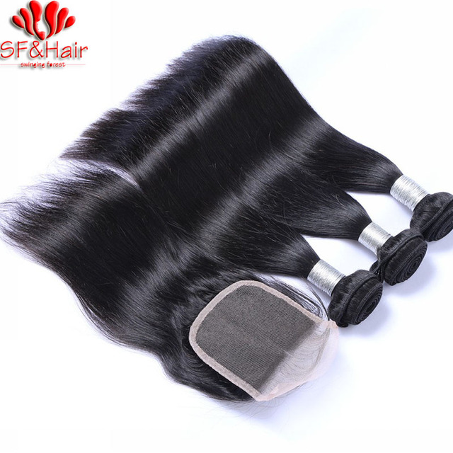Brazilian Straight Hair With Closure 3 Bundles Straight Weaves With Closure 8A Virgin Human Hair With Closure Rosa Hair Products