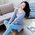LIKEPINK 2017 Pijamas Mulheres Pijama Conjuntos de Pijama De Algodão Ponto Bolso Mujer Femme Azul Cinza de Manga Comprida Feminina Sleepwear M ~ XL