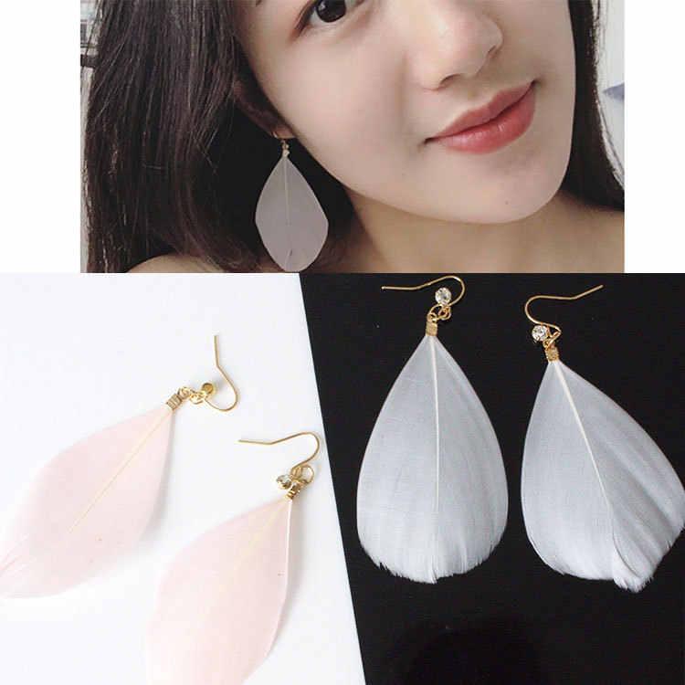 Nuevos pendientes a la moda 2018 plumas de cristal influjo de personas, joyería de personalidad exagerada, venta al por mayor, distribución de regalos para mujeres