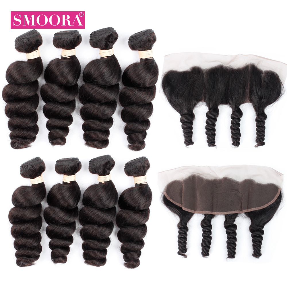 100% Peruvian Loose Wave Bundles With Frontal Closure 4 Bundles With Closure 13*4 Natural Black Non Remy Human Hair With Closure