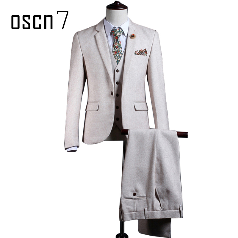 OSCN7 Beige Solid Color Suit Men Slim Fit Notch Lapel Fashion Wedding Groom Suits for Men Plus Size Suit(blazer+vest+pants)