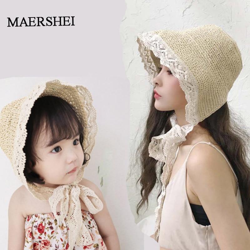 MAERSHEI 2019 Summer Hats For Women Straw Sun Hat Lady Girls Lace Ribbon Bow Panma Beach Hat Floppy Female Travel Folding Chapeu