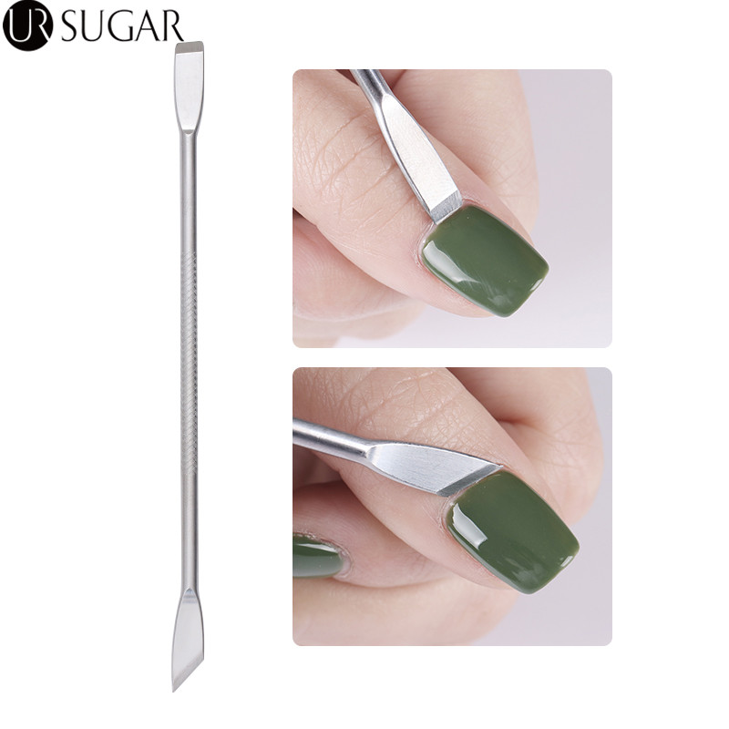 1Pc Dual-ended UV Gel Polish Remover Cuticle Nail Pusher Remover Stainless Steel Manicure Nail Art Tool Dead Skin Remover Kits 1pc high quality nail art acrylic uv gel cleaner remover tip nail cleanser plus nail clean remover excess gel