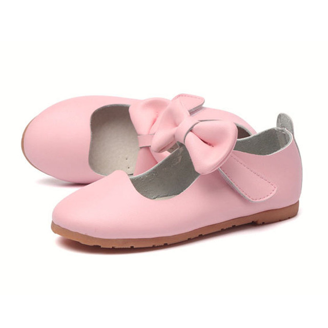 2017 Spring New Design Butterfly-knot Children Girls Leather Shoes Ankle Straps Toddlers Leather Shoes Size 6.5-10