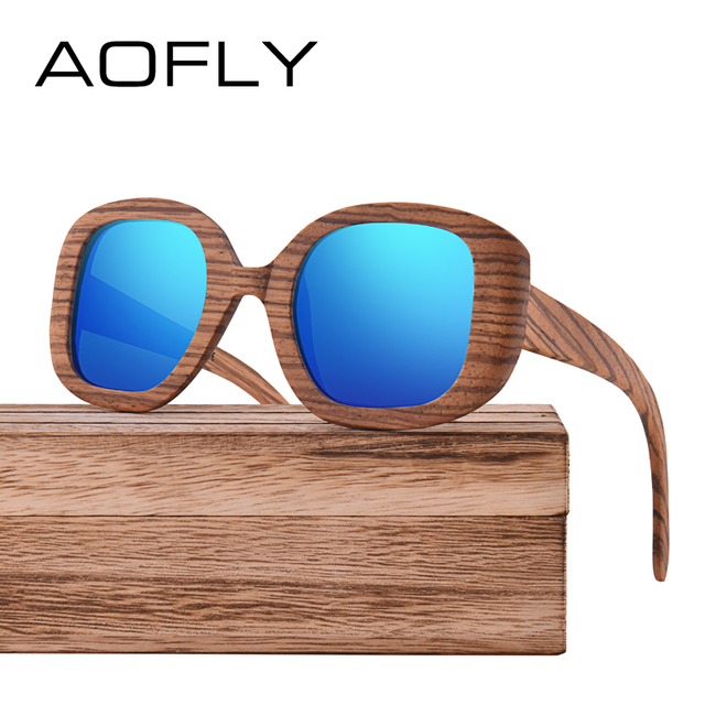 94e2a44f5caab AOFLY BRAND DESIGN Polarized Wooden Sunglasses Original Wood Sun Glasses  For Women Men Handmade Bamboo Frame Oculos AF613