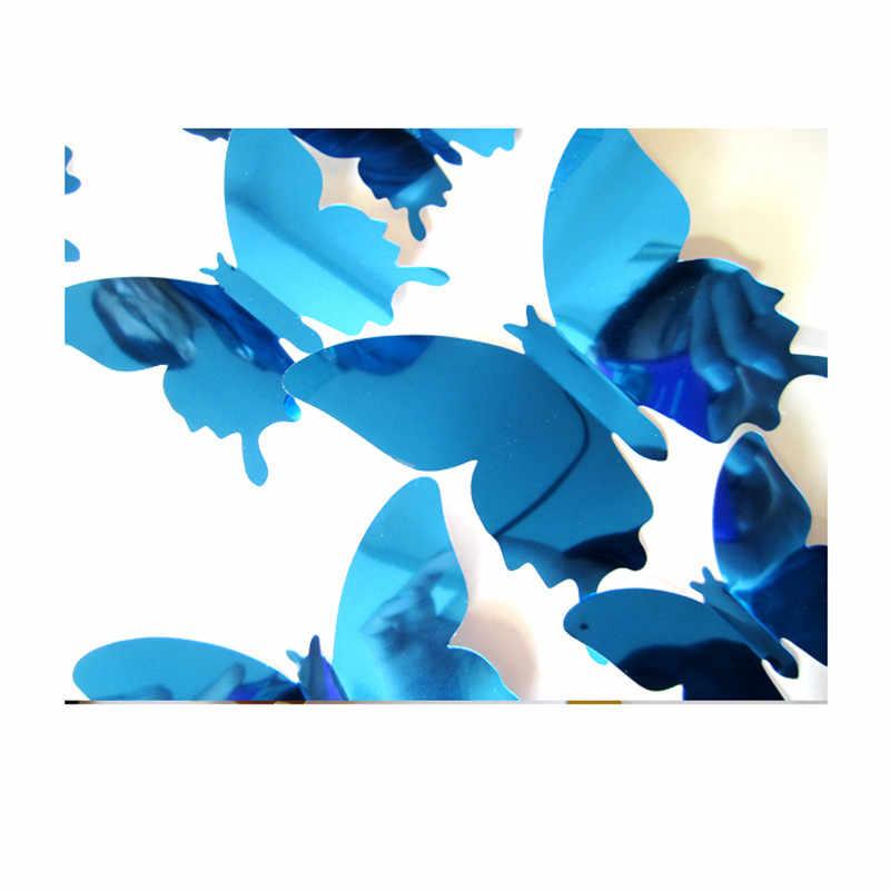 12 pçs/set Belo Espelho de Prata DIY 3D Adesivos de Parede Borboleta Decoração Do Casamento Festa Em Casa Decoração Arte Da Parede de Ouro Caçoa o Presente