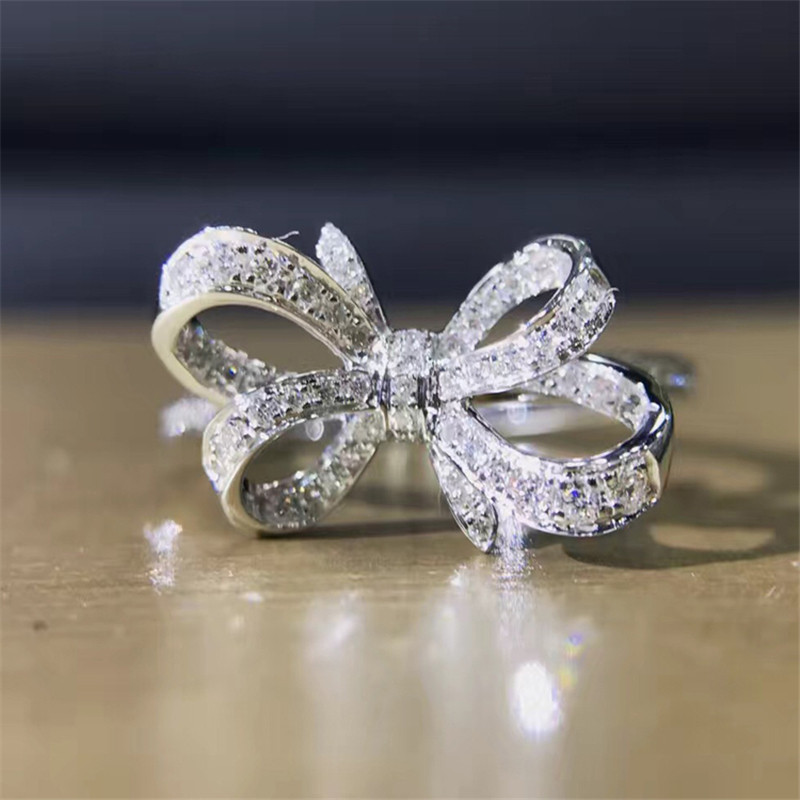 LASAMERO 0.176CT Round Cut Bowknot Ring For Women Accents 18k Gold Naturall Diamond Engagement Wedding Ring