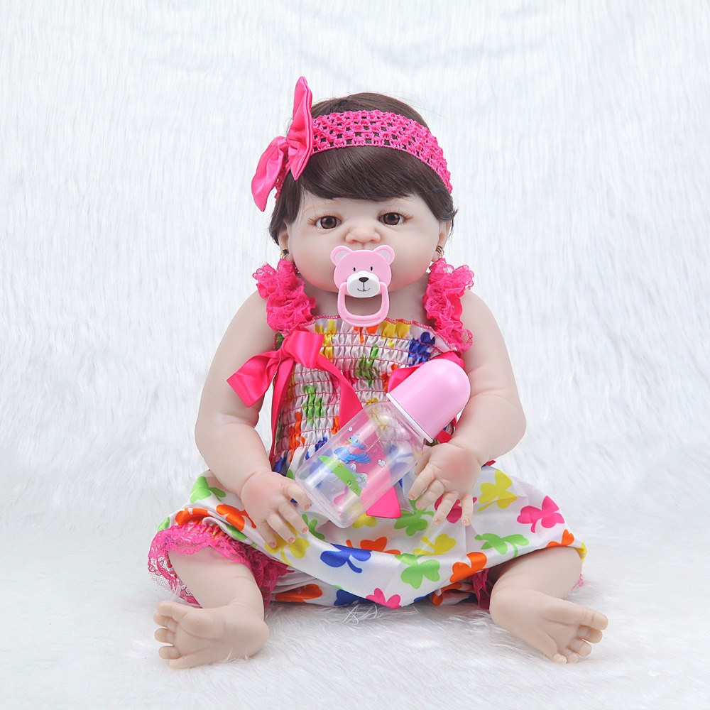 Moda 23 ''princesa realista muñeca de silicona Peluca de cuerpo ropa de bebé lindo vestido rosa bebé reborn menina niños regalo-in Muñecas from Juguetes y pasatiempos    1