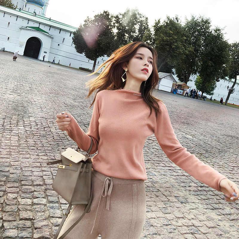 Mishow Wanita Blus 2018 Musim Gugur Musim Dingin Lengan Panjang Solid Wanita Huruf Pullover Berleher Tinggi Wanita Kasual Sweater MX18C5526