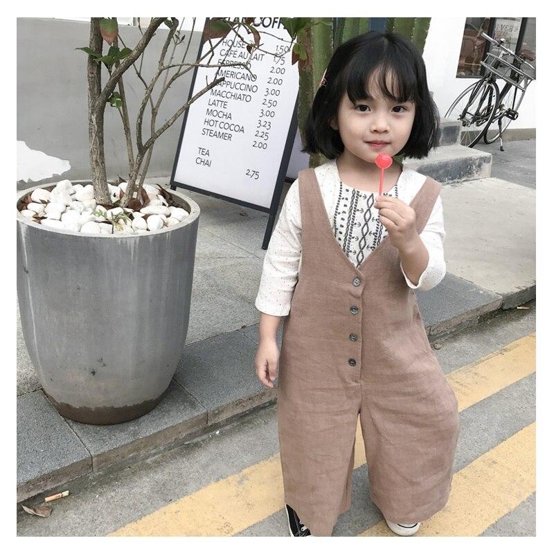 Macacão de bebê menina primavera outono de boot cut macacão de linho botão fly macacão para crianças cáqui casual crianças roupa da criança