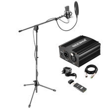 Neewer NW-700 Pro Condenser Microphone Kit:Condenser Mic+Mic Floor Stand+48V Phantom Power Supply+Shock Mount(China)