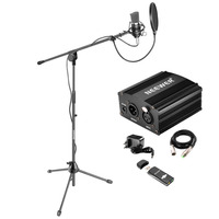 Neewer NW 700 Pro Condenser Microphone Kit:Condenser Mic+Mic Floor Stand+48V Phantom Power Supply+Shock Mount+USB Sound Card