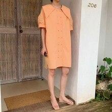 купить Hot Women Casual O-Neck Half Sleeve Plus Size Dress Back Lace Up Pleated Midi Dress Straight Solid Button Loose Dress по цене 1160.62 рублей
