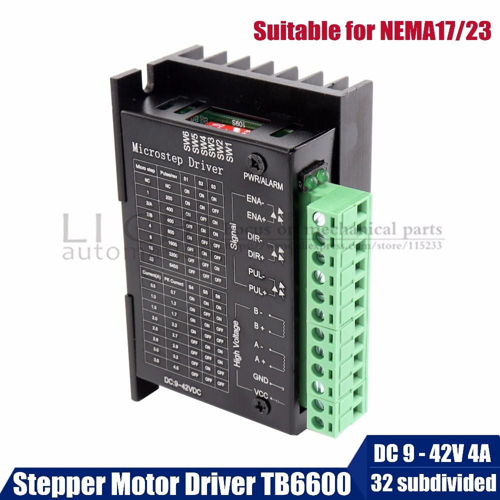 Free shipping TB6600 stepper motor driver 2phase 9-42VDC 4A for NEMA17 NEMA23 motor CNC router controller for 3D printer