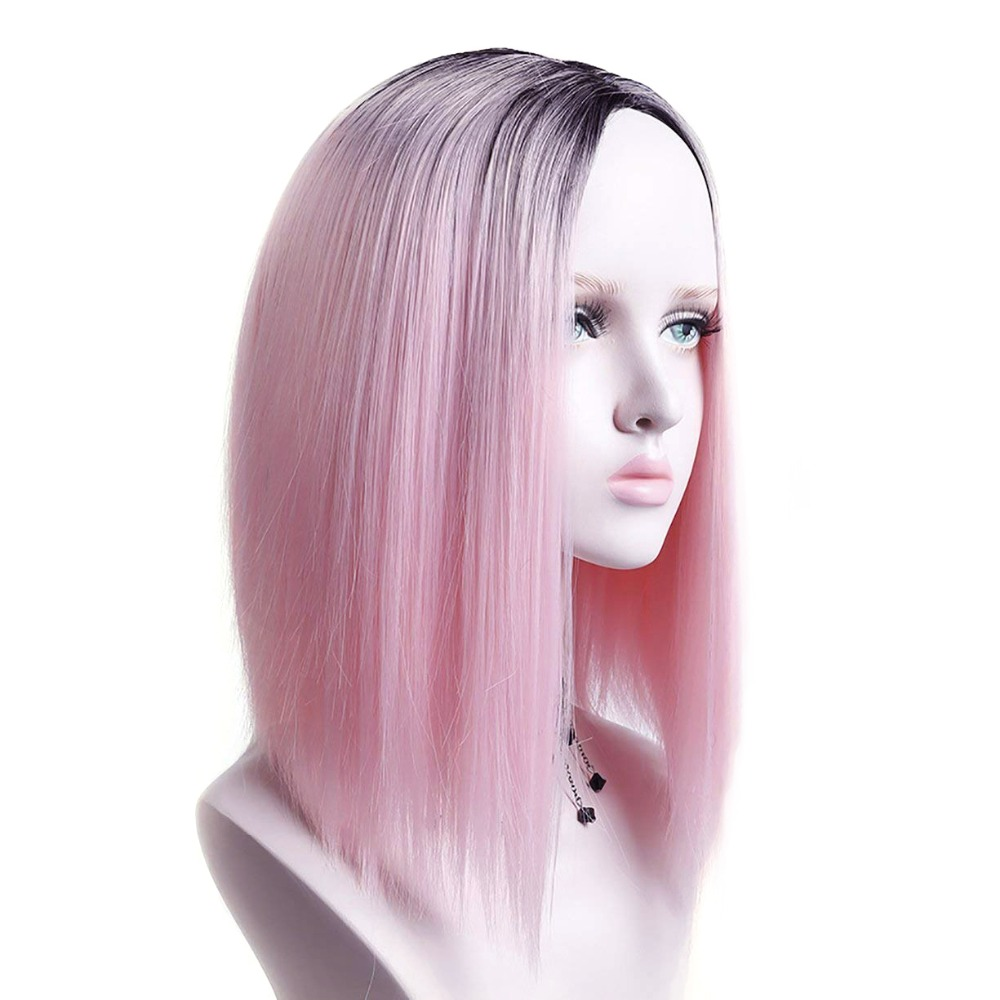 Pageup Ombre Bob Synthetic Wigs For Women African American Ladies High Temperature Fiber Heat Resistant Short Cosplay Pink Wig (4)