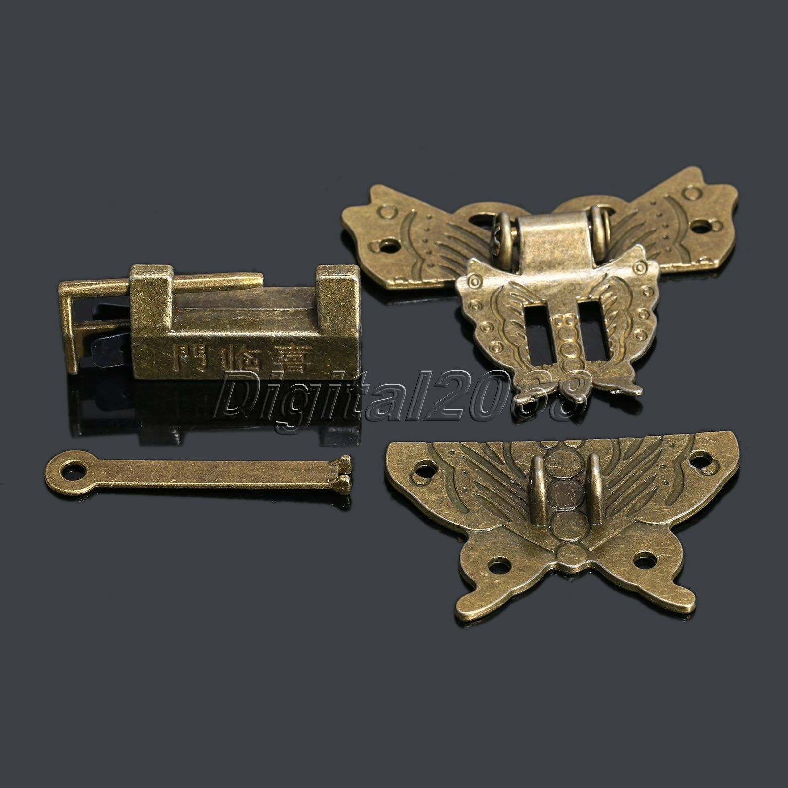 6Pcs Antique Latches Jewelry Gift Wooden Suitcase Case Hasp Antique Decorative Latch Hook Lock for Box Craft+Screws+Lock 59x55mm ancient swing hasp jewelry wooden box lock catch latches box buckle clasp hardware alloy buckle