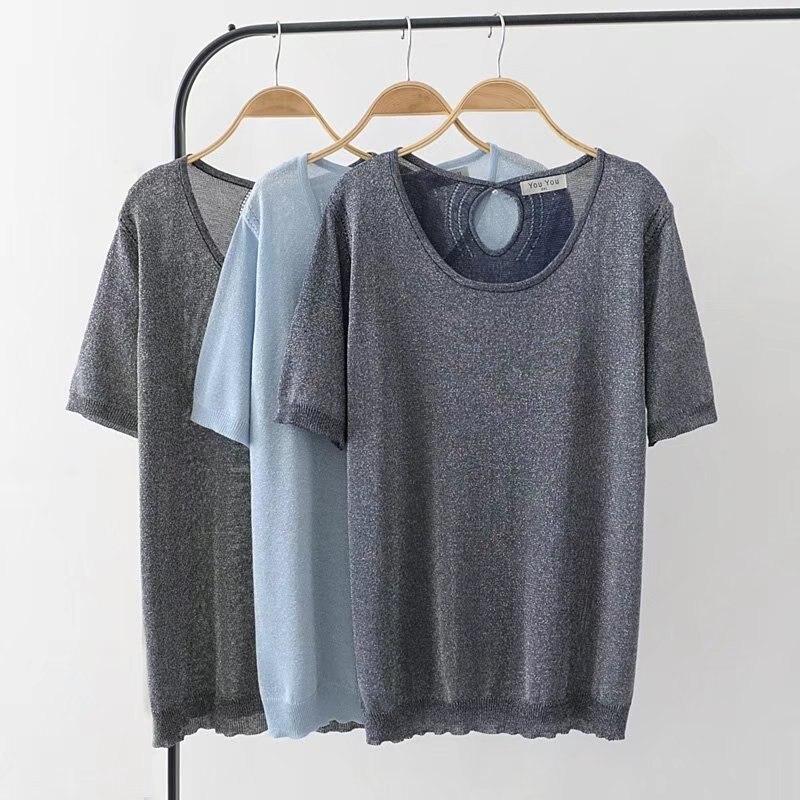 Plus size short sleeve women t shirt 2018 sky blue & dark blue & black Lurex knitted t-shirt women tops tshirt summer tee shirt