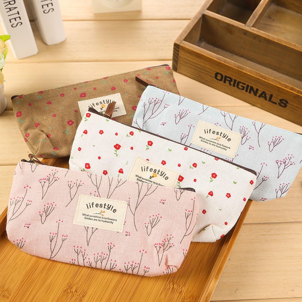 Cute Kawaii Floral Flower Canvas Zipper Pencil Cases Lovely Fabric Flower Tree Pen Bags School Supplies Free shipping
