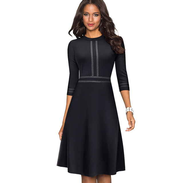 efde271e27 Stylish Ribbons Fit and Flare Wear to Work Women Office Skater Dress  Classic Solid Color Prom Business Dress EA135