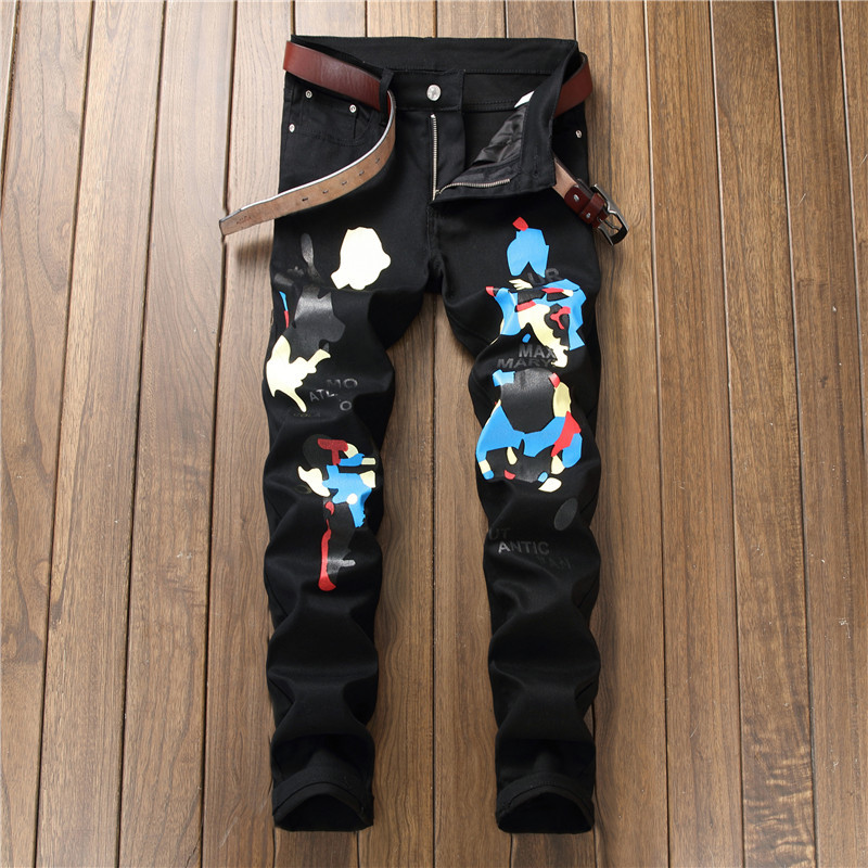 Luxury Print Man Jeans Black Slim Pencil Denim Trousers F12