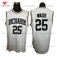 Дешевые Ричардс средняя школа № 25 Дуэйн Уэйд Джерси возврат Баскетбол Джерси Винтаж Ретро корзина для Для мужчин прошитой Белый
