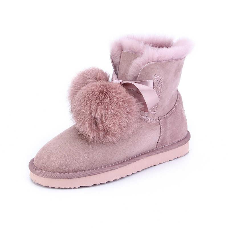MBR FORCE new arrival skóra owcza futro pokryte kobiety zimowe zamszowe buty na śnieg pom-pom styl kostki zimowe buty dla słodkich dziewcząt