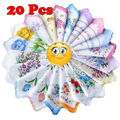 20 pcs Cotton Gauze Muslin Square Flower Pattern Handkerchief Towel  Lovely