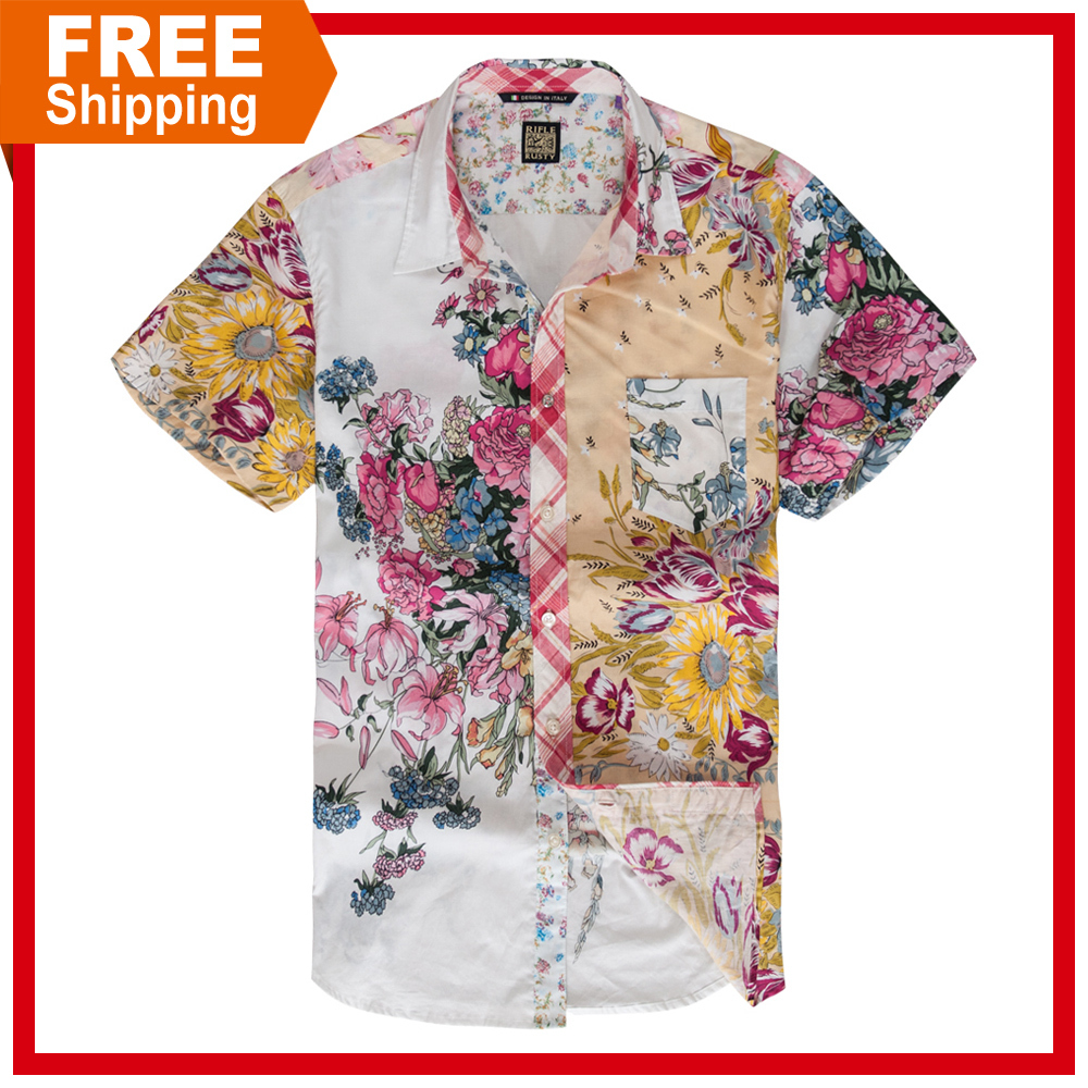 Free shipping slim fit fashion casual design floral collar for Fitted short sleeve dress shirts for men