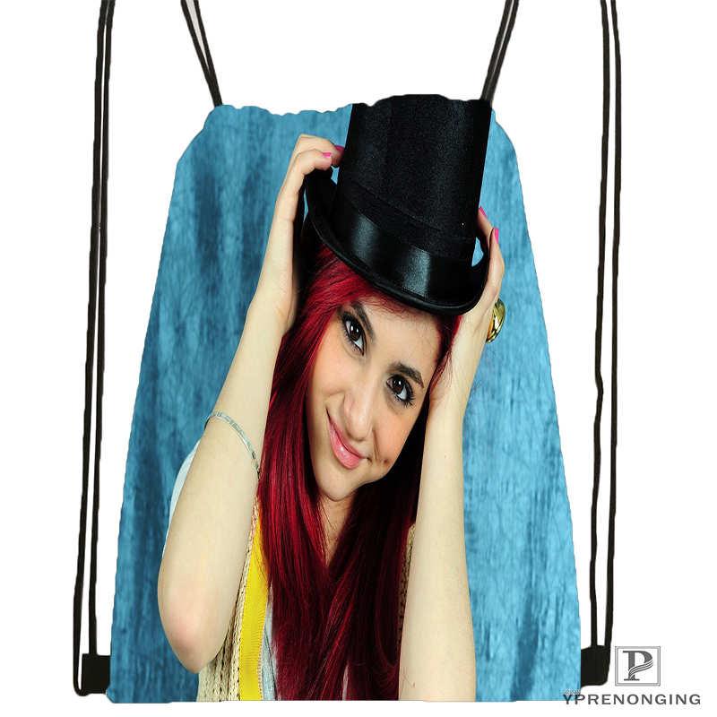 Custom Ariana Grande Drawstring Backpack Bag for Man Woman Cute Daypack Kids Satchel Black Back 31x40cm