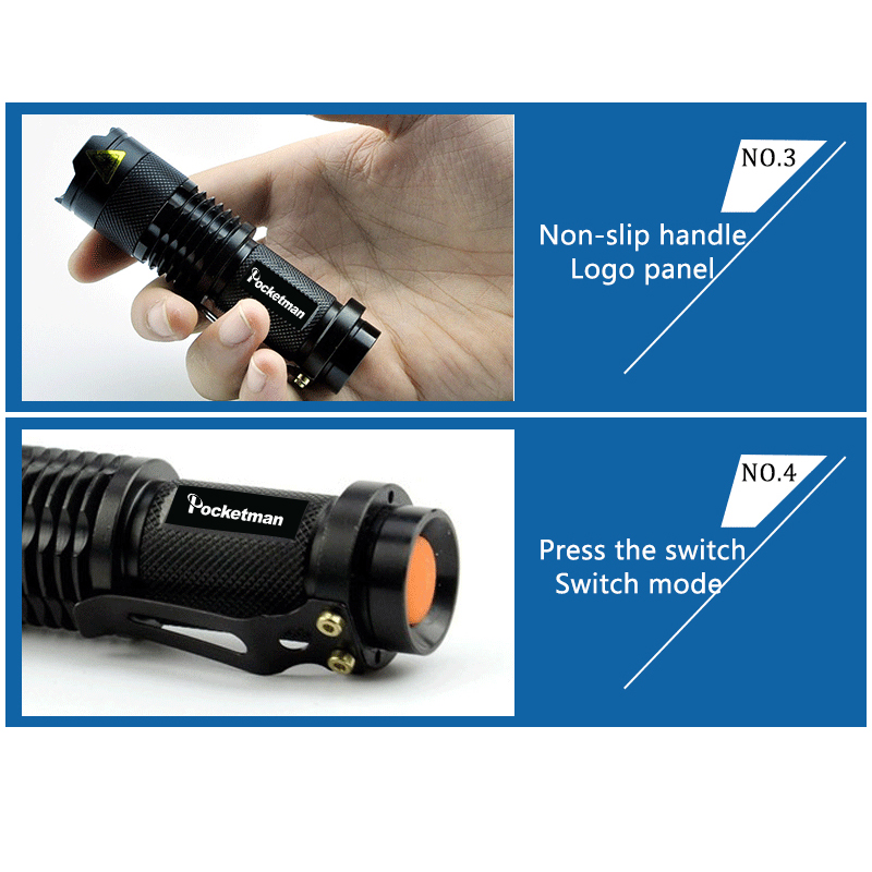 Pocketman 8000LM Hot berkualitas tinggi Mini Hitam Tahan Air LED - Pencahayaan portabel - Foto 4