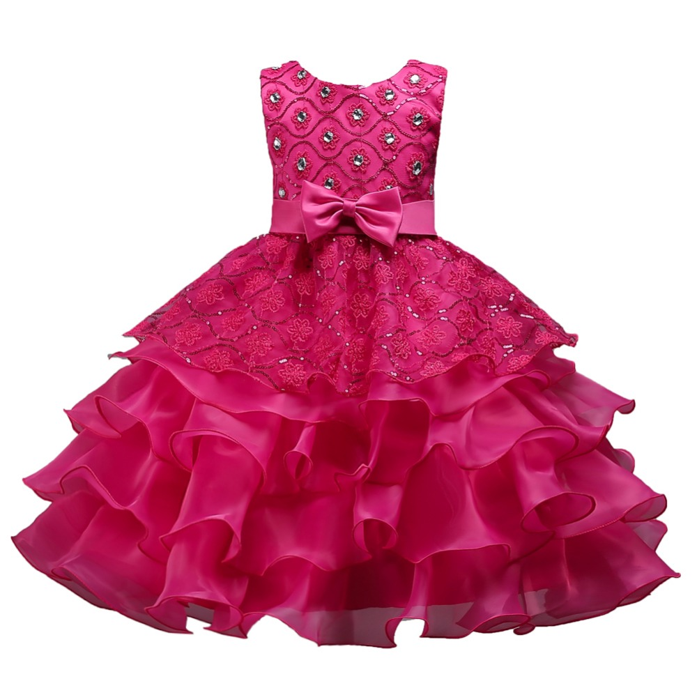Kids Dresses For Girls Party Wear 3 to 15 Years Flower Girls Princess Cristal Dress 12 Years Baby Girl Dress With Bow Squined 14 цены онлайн