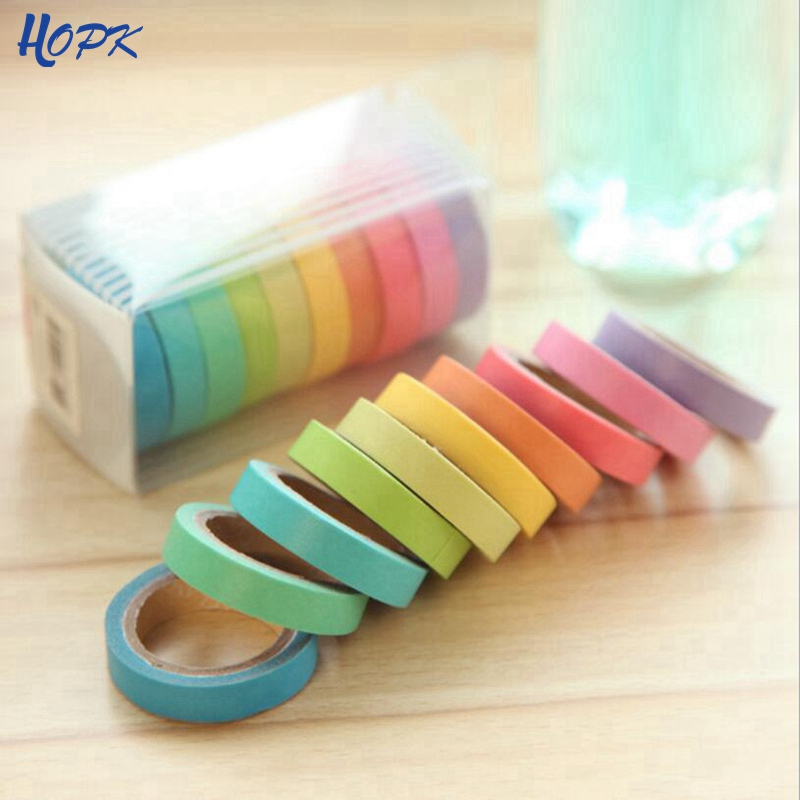 10pcs Washi Tape Set Diary Scrapbooking Decorative Adhesive Masking Tapes DIY Rainbow Colorful Sticky School Supplies Japanese