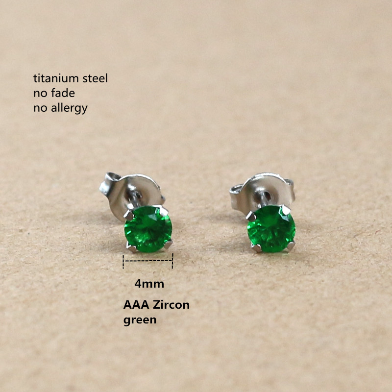 Titanium With 4mm Green Zircon Round Stud Earrings 316L Stainless Steel IP Planting No Fade No Allergy