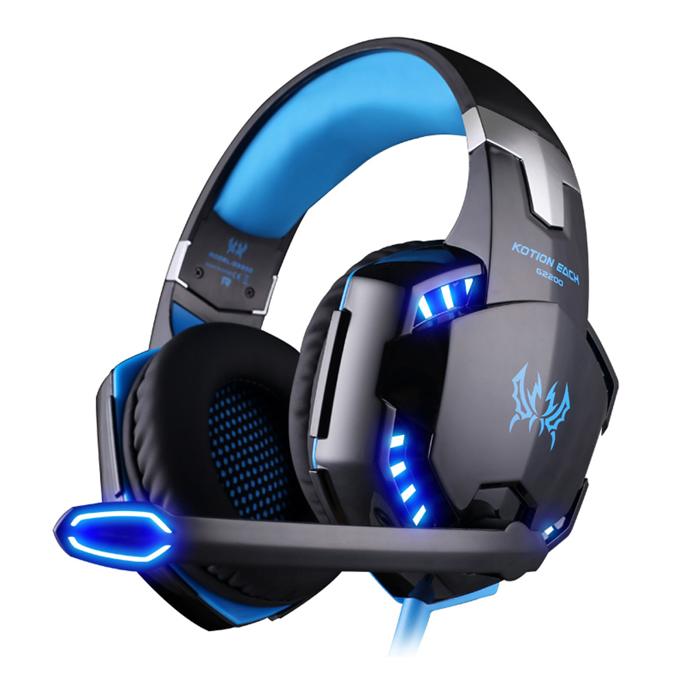 KOTION EACH G2200 Professional Gaming Headphone Stereo Headband Game Headsets PC Gamer USB7.1 Vibration Breathing LED Light Mic plextone stereo game headsets vibration bass computer gaming headphone with breathing led light mic for pc gamer