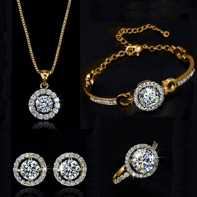 למעלה איכות מעולה נשים חתונת שרשרת עגיל טבעת סט תכשיטי כסף מצופה כסף מצופה זירקון קריסטל