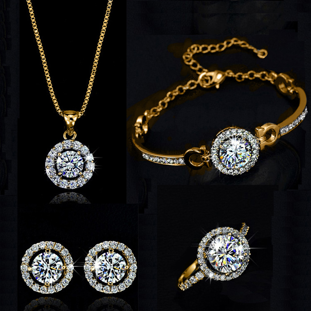 Top Quality Exquisite Women Wedding Necklace Earring Ring Jewelry Set silver plated silver Plated Zircon Crystal
