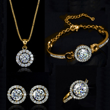 Top Quality Exquisite Women Wedding Necklace Earring Ring Je