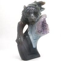 Голова тигра статуя природные драгоценные камни аметистовый геодезический бисер из драгоценного камня целебный Декор 7,2