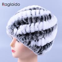 Genuine Rex Fur Pom Poms Snow Cap Winter Hats For Girls Skull Cap Real Fur Knitting