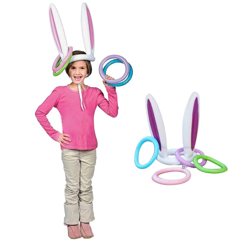 Methodical 5pcs/set Children Inflatable Rabbit Ear Head Toss Ring Game Party Toy Gift Decor Highly Polished