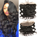 13x4 Brazilian Virgin Hair Body Wave  Ear to Ear Lace Frontal Closure With Baby Hair 7A Lace Frontal Bleached Knots Free Part